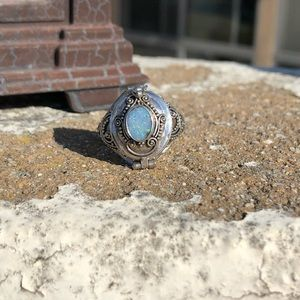 Opal Fire (lab) Sterling Silver Poison Ring Sz 9.5